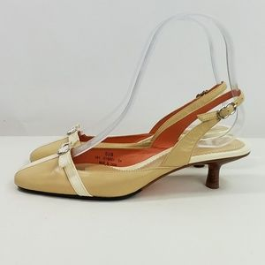 Cole Haan Tan Cream Patent Leather Sling Back 5.5B